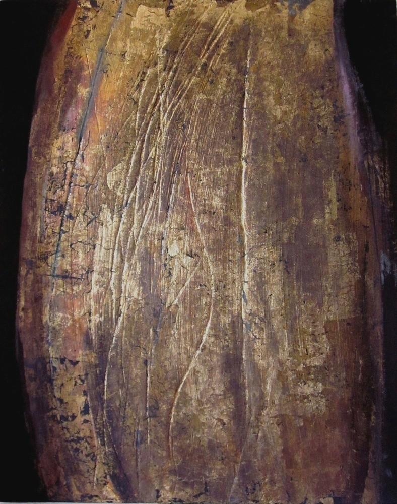 Valérie de Laubrière - Graffures 75x90 cm acrylique, cuivre sur bois  2010