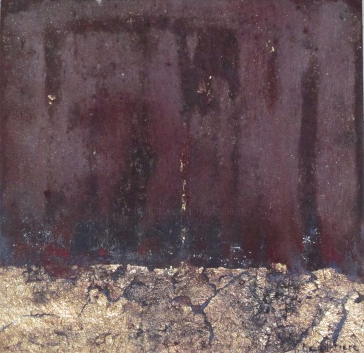 Valérie de Laubrière - Electric 40x40 pigment,cendre,cuivre sur toile 2015